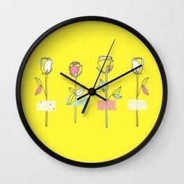Rosewall (on yellow) Wall Clock