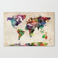watercolor Canvas Prints featuring World Map Urban Watercolor by artPause