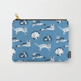Cats, cats, cats pattern in blue palette Carry-All Pouch