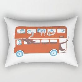 Dachshund on a London bus Rectangular Pillow
