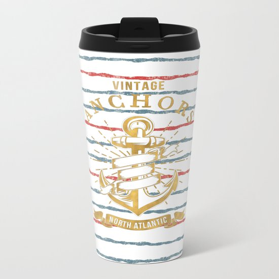 Maritime Design- Nautic Vintage Anchor on stripes in blue and red #Society6 Metal Travel Mug