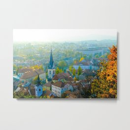 Charming City View Llubljana Slovenia with Church Steeple Metal Print
