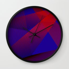 Red blue Geometric abstract Wall Clock