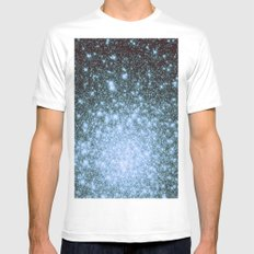 Steel Blue Ombre Stars White Mens Fitted Tee MEDIUM
