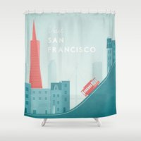 san francisco Shower Curtains featuring San Francisco by Travel Poster Co.