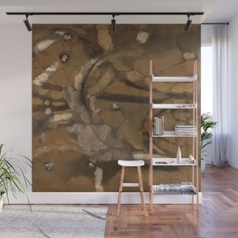 Feather Impressionistic Tan Brown Painting Abstract Realism of Native American Dreamcatcher Wall Mural
