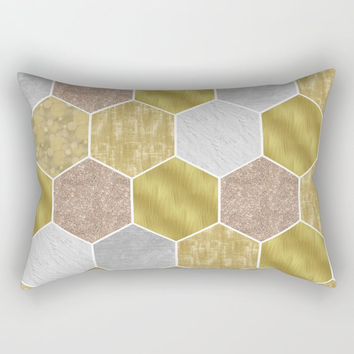 Gold honeycomb hexagons with marble and foil Rectangular Pillow