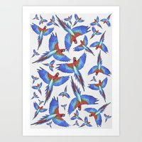parrot Art Prints featuring Parrot. by Eleaxart