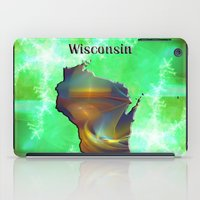 wisconsin iPad Cases featuring Wisconsin Map by Roger Wedegis