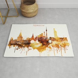 Moscow Russia Red Yellow Skyline Rug