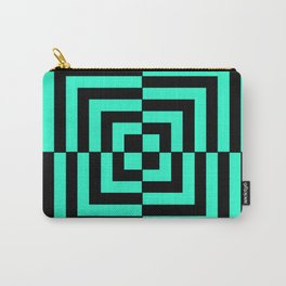 GRAPHIC GRID DIZZY SWIRL ABSTRACT DESIGN (BLACK AND GREEN AQUA) SERIES 5 OF 6 Carry-All Pouch
