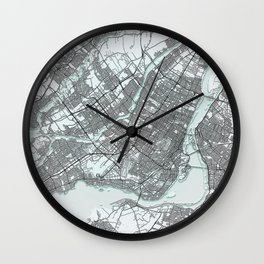 Montreal Canada Black and White City Map Wall Clock