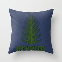 oregon Throw Pillows featuring Oregon by Julie