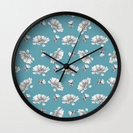Hand painted gray white watercolor floral daisies Wall Clock