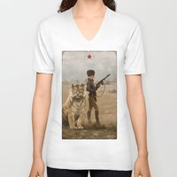 kittens V-neck T-shirts featuring 1920 - kittens by Jakub Rozalski