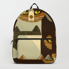 Cat Pattern Japanese, Cat, Cubism, Woodblock Print, Cherry Blossom, Midcentury, Modern Backpack