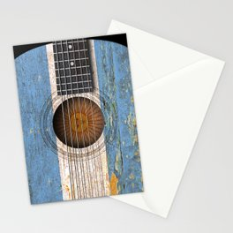 Old Vintage Acoustic Guitar with Argentine Flag Stationery Cards