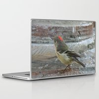wallet Laptop & iPad Skins featuring Ruby-Crowned Kinglet At The Fountain by Ralph S. Carlson