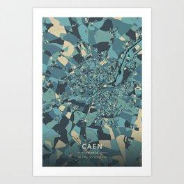 Caen, France - Cream Blue Art Print