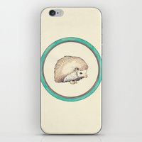 hedgehog iPhone & iPod Skins featuring Hedgehog by Joan Horne