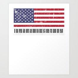 American Flag Grand Piano design Art Print