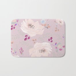 Soft pink blooming watercolor roses Bath Mat