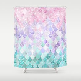 Mermaid Pastel Iridescent Shower Curtain