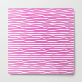 Abstract pink white wave stripes pattern Metal Print