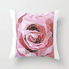 polygonal rose Throw Pillow