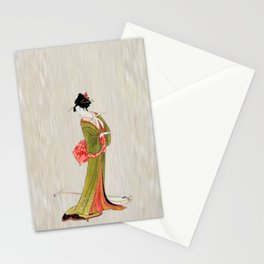A Geisha in Green Stationery Cards
