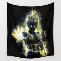 vegeta Wall Tapestries featuring The Prince of all fighters by Barrett Biggers