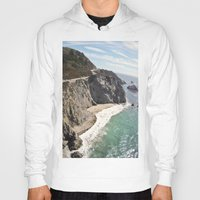 big sur Hoodies featuring Big Sur Bridge by The Aerial Photography Shop