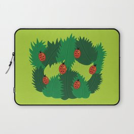 Green Leaves And Ladybugs In Spring Laptop Sleeve
