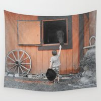 cowboy Wall Tapestries featuring Little Cowboy by Valeria24