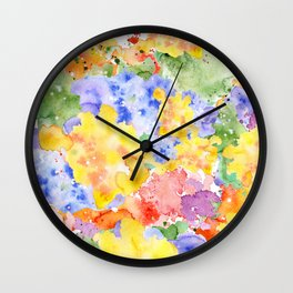 Modern whimsical pink purple yellow hand painted watercolor Wall Clock