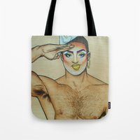 sam smith Tote Bags featuring Sam by NathanRapportArt