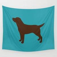 lab Wall Tapestries featuring Labrador Retriever, Lab (Teal/Chocolate) by Erin Rea