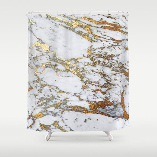 Gold Marble Shower Curtain by jennadavis | Society6