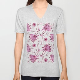 Orchid and navy floral Unisex V-Neck
