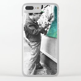 KID PAINTING THE UNIVERSE Clear iPhone Case