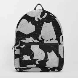 Silver Cats on Black Kitty Pattern Backpack