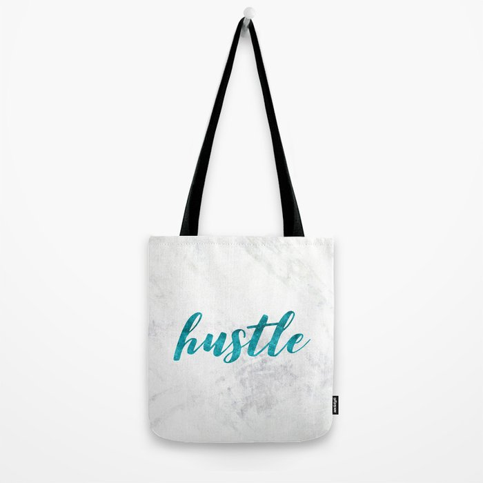 Blue Hustle Text Marble Tote Bag