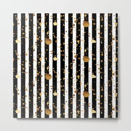 Stripes & Gold Splatter Metal Print