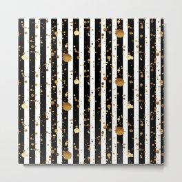 Stripes & Gold Splatter Metal Print