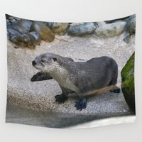 otter Wall Tapestries featuring Otter by Phil Hinkle Designs