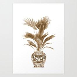 Palm leaves art print, beige Art Print