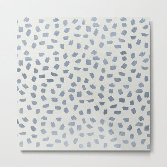 Simply Ink Splotch Indigo Blue on Lunar Gray Metal Print