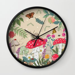 Toadstools in the Woods Wall Clock