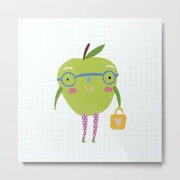 Little Miss Apple Metal Print