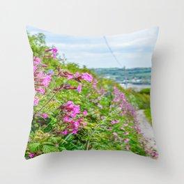 Mylor Walk - Red Campion Hedgerow Throw Pillow